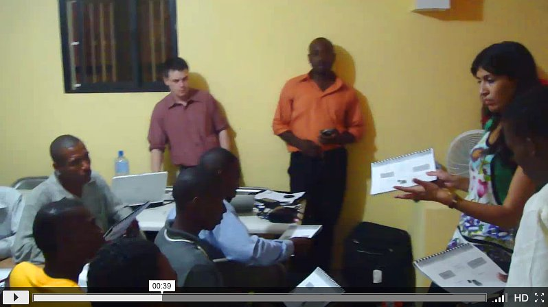 Lukas, Martial (director of FATEM in Mirebalais) and Leila conducting the training session in Mirebalaiss